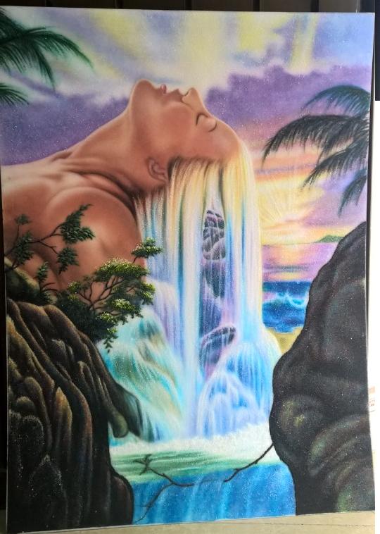 Gemstone painting Lady's Hair Waterfall