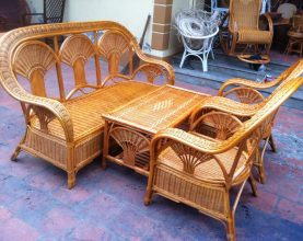 rattan furniture - chair and table