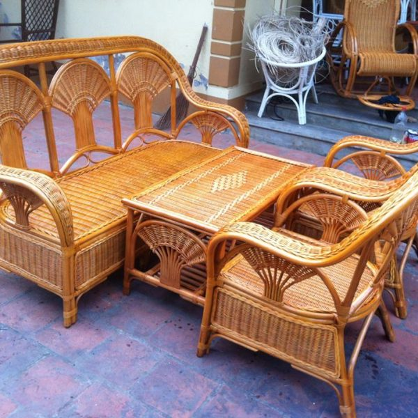 rattan furniture – chair and table
