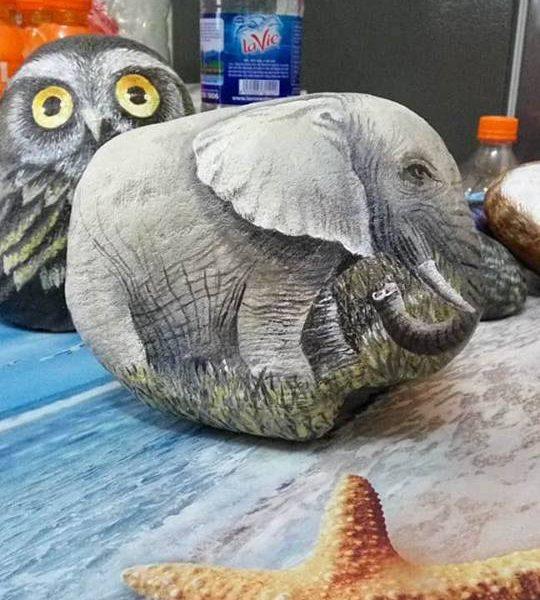 stone painting, stone painting animal