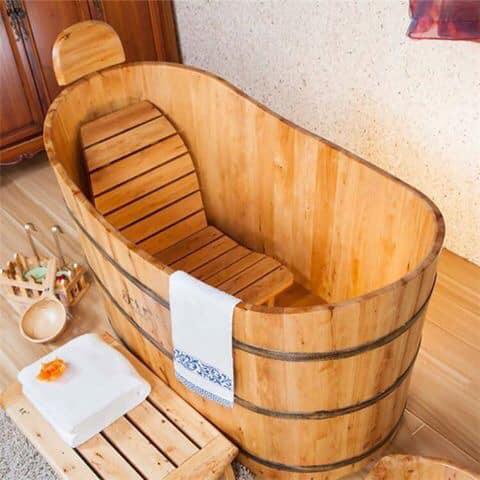 wood bathtub